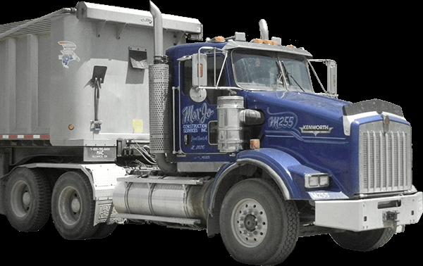 MarJo Construction truck delivering gravel